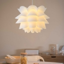Lotus Lampshade Pendant Light Designers Style Plastic Hanging Light for Living Room
