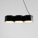 3 Light Linear Island Pendant Light Simple Stylish Acrylic Ceiling Light in Black