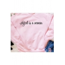 Cozy Long Sleeve Round Neck Letter Printed Fresh Pink Sweatshirt for Girls