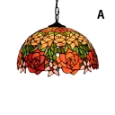 Rose Theme 2 Light Ceiling Pendant, Tiffany Style 16-Inch Wide Glass Shade in Dome Shaped, Multicolored