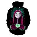 Cool Long Sleeve Cartoon Character Printed Leisure Black Hoodie