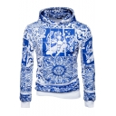 Chinese Style Blue Porcelain Pattern Long Sleeve Regular Fitted Hoodie for Men