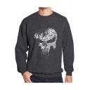 Men's Hot Popular Skull Printed Crewneck Long Sleeve Casual Leisure Pullover Sweatshirt