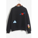 Hot Popular Cartoon Heart Ice Cream Printed Mock Neck Long Sleeve Pullover Sweatshirt