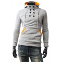 Men's Chic Fashion Double-Breasted Contrast Trim Long Sleeve Fitted Drawstring Hoodie