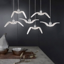 3 Light Bird Pendant Light Contemporary Metal Lighting Fixture for Children Room in White