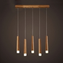 Matchstick Shape Cluster Pendant Light Minimalist Woody Multi Light Suspended Lamp