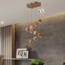 Cluster Pendant Light Simplicity Wood Multi Light Drop Light in Natural Wood Finish