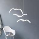 Seagull Shape Cluster Island Pendant Light Modern Simple Acrylic Multi Light Drop Light