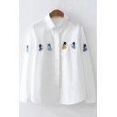 White Cute Cartoon Figure Embroidered Long Sleeve Lapel Collar Button Down Shirt