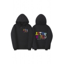 Street Style Cartoon Letter ASTRO WORLD Print Loose Casual Sports Hoodie