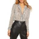 Women's Stylish Popular Leopard Printed Notched Lapel Collar Button Shirt