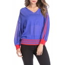 New Arrival Contrast Striped Hem V-Neck Sheer Thin Loose Fit Hooded Sweater