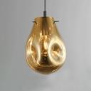 Single Head Drop Light Modern Fashion Amber/Smoke Glass Decorative Suspended Lamp
