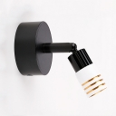 Tubed LED Wall Mount Light Modern Simple Rotatable 1 Head Mini Wall Light in Black with Metal Base