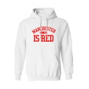 Stylish Letter MANCHESTER IS RED Printed Long Sleeve Kangaroo Pocket Boxy Hoodie