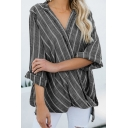 New Trendy Linen Vertical Striped Printed Surplice V-Neck Loose Casual Blouse for Women