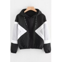 Fashion Two-Tone Colorblock Long Sleeve Sports Casual Zip Up Black Hooded Coat