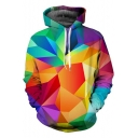 Men's 3D Colorful Geometric Printed Long Sleeve Loose Fit Pullover Hoodie