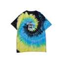 Cool Letter GLOOMY BEAR STYLE Print Tie Dye Round Neck Loose Blue T-Shirt