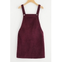 Basic Simple Plain Mini Shift Corduroy Overall Dress for Girls
