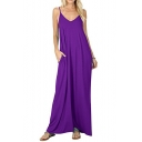 New Arrival Trendy Spaghetti Straps Simple Plain Maxi Casual Loose Slip Dress with Pocket