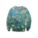 Men's New Stylish 3D Floral Printed Long Sleeve Round Neck Sport Loose Green Sweatshirt