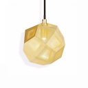 Etched Geometric Suspended Light Designers Style Stainless 1 Bulb LED Hanging Light in Gold
