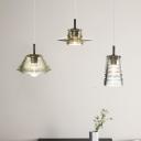 Clear Glass Geometric Hanging Lamp Modern Fashion Single Light Suspended Light for Corridor