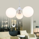 Frosted Glass Ball Chandelier Nordic Style 3 Lights Suspended Lamp in White for Bedroom