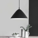 Conical Ceiling Pendant Light Modern Metal 1 Head Suspended Lamp in Black for Dinning Room