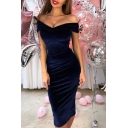 Women's Chic Off The Shoulder Basic Plain Midi Bodycon Velvet Dress for Party