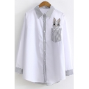 Lovely Cartoon Rabbit Print Pocket Chest Striped Lapel Collar Long Sleeve Button Shirt