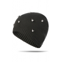 Winter's Lovely Cute Pearl Embellished Warm Knit Beanie Hat