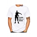 Popular Game Fortnite Letter FLOSS LIKE A BOSS Dancing Men Print White Casual Tee