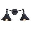 Metallic Armed Lighting Fixture with Cone Shade Simplicity 2 Lights Wall Mount Light in Black Finish