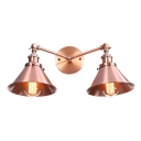 Industrial Armed Wall Light with Conical Shade Iron 2 Light Double Wall Sconce in Copper Finish