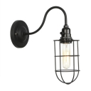 Wire Guard Wall Mount Light Nautical Style Metal 1 Light Lighting Fixture in Black with Gooseneck