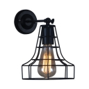 1 Light Wire Guard Wall Mount Light Industrial Metallic Wall Sconce in Black for Coffee Shop