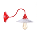 Scalloped Wall Mount Light with Gooseneck Stylish Industrial Glass Shade Sconce Light in Red