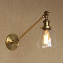 Rotatable Cup Shade Wall Lamp Retro Style Metallic Decorative Wall Light Sconce in Antique Brass