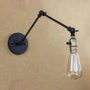 Industrial Open Bulb Wall Mount Light Adjustable Single Head Wall Lighting with Black Metal Base