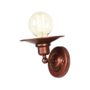 Rust Finish Flared Sconce Light Retro Style Iron Single Light Small Wall Mount Fixture for Restaurant