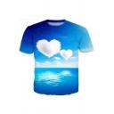 New Fashion 3D Heart-Shaped Cloud Print Blue Short Sleeve Casual T-Shirt