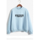 New Trendy Letter Print Mock Neck Long Sleeve Loose Sweatshirt