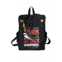 Retro Popular Letter SHARK ATTACK Printed Simple Backpack for Juniors