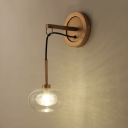 Dome Hanging Wall Sconce Concise Modern Glass Shade 1 Head Decorative Lighting Fixture in Brass