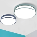 Glass Shade Round Ceiling Light Modern Fashion Bedroom LED Flush Light Fixture in Blue/Green