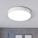 Ultra Thin Round Ceiling Light with Etched Design Contemporary Hallway Acrylic LED Flushmount in White