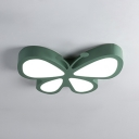 Cartoon Style Butterfly Flushmount Girls Bedroom Metal LED Flush Light Fixture in Blue/Green